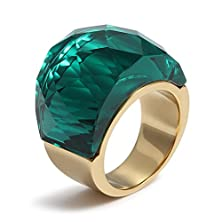 buy Womens Stainless Steel Green Super Sized Crystal Ring Promise Engagement Wedding,Gold,Size 7