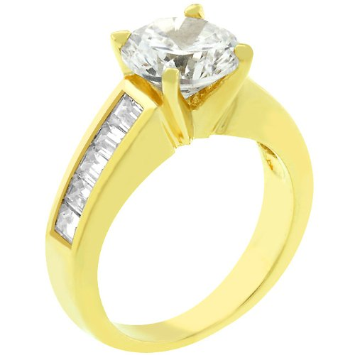 Anniversary 3 CT 14k Yellow Gold Plated CZ Ring Size 5