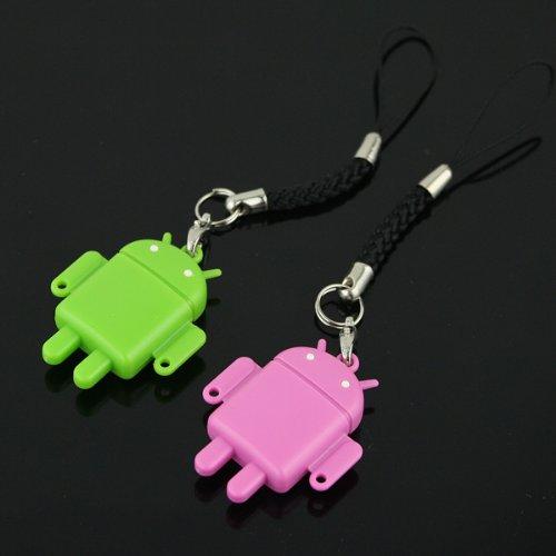 Cran USB TF Kartenleser Funktion Android Robot Puppe Handyanhänger Handyschmuck Lovers Mobile Phone Strap Chains(2 in Packung Pink+Grün)