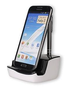 DONZO® DELUXE USB Dockingstation für Samsung Galaxy S4 I9500 & I9505 | Galaxy S3 I9300 & I9305 | Galaxy Note 2 N7100 & N7105 | Note 3 | Note 4 | Galaxy S3 mini I8190 | Galaxy S DUOS S7562 | Galaxy beam - I8530 | Galaxy Ace 2 I8160 | Galaxy Ace I5830 | Galaxy Note N7000 | Galaxy S2 I9100 | Galaxy S I9000 | Galaxy S Plus I9001 | Galaxy Nexus I9250 + USB Datenkabel + Ladegerät Netzteil + Audio Ausgang mit 3,5mm Klinkenstecker - schwarz / weiß