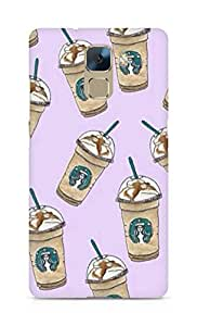 Amez designer printed 3d premium high quality back case cover for Huawei Honor 7 (StarBucks Pattern)