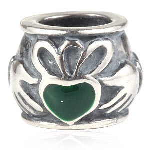 Irish Claddagh Friendship And Love Green Enamel Authentic 925 Sterling Silver Bead Fits Pandora Chamilia Biagi Troll Charms Europen Style Bracelets
