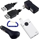 Cisco Flip Video SlideHD 3 Item Bundle Kit: USB Extension Cable (6 Feet), Car Charger, and Wall Travel/Home Charger with Free Carabiner Key Chain