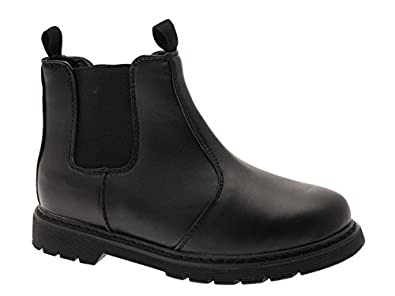 NEW BOYS BLACK SCHOOL FAUX LEATHER CHELSEA DEALER ANKLE BOOTS SHOES PULL ON SIZE UK 1