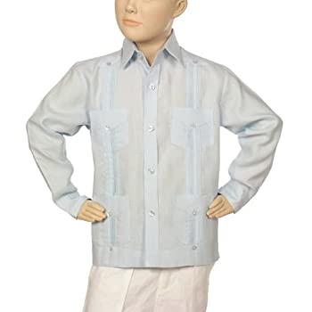 Boys linen guayabera shirt in light blue