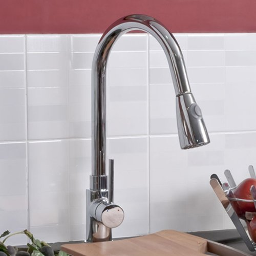 Erise Chrome Plated Kitchen Sink Mixer Tap with Pull Ou
