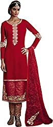 Go Traditional Women's Georgette Unstitched Dress Material (Red)