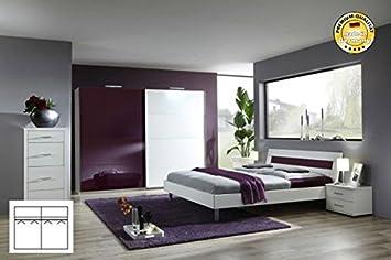 Komplett Schlafzimmer 1942 weiß/ brombeere Schwebeturenschrank 225cm, Bett 180x200cm