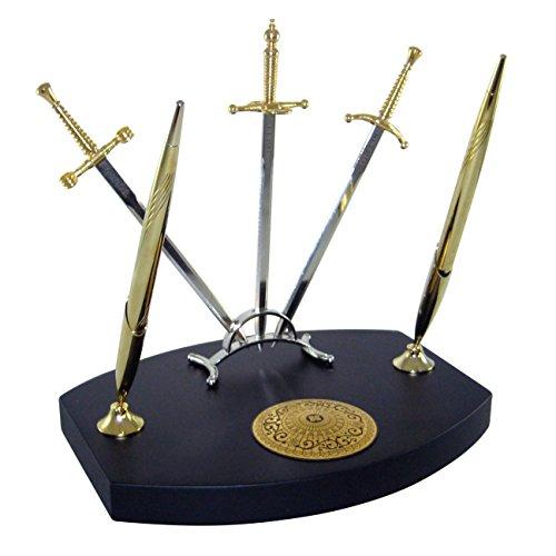 credan-the-three-musketeers-set-de-escribania-con-boligrafo-y-tres-espadas-abrecartas-sobre-peana-ma