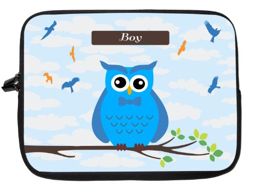 """15 Inch Rikki Knighttm """"Boy"""" Name - Cute Blue Owl On Branch With Personalized Name Laptop Sleeve front-583104"""