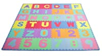 ProSource Kids Puzzle Alphabet and Numbers 36 Tiles with Edges Play Mat from ProSource