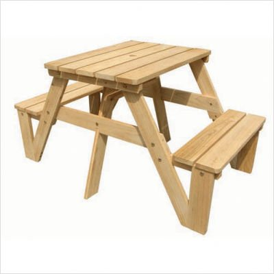 Lohasrus Kids Patio Picnic Table 20301-Passed Safety Standards ASTM F963-07, Unfinished Fir, for ages 2 to 6, 1 seated each side, plus Free Drawing Book