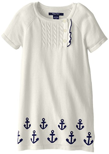 Nautica Little Girls' Woven Sweater Dress With Cableknit And Anchor Details, Natural, 3T