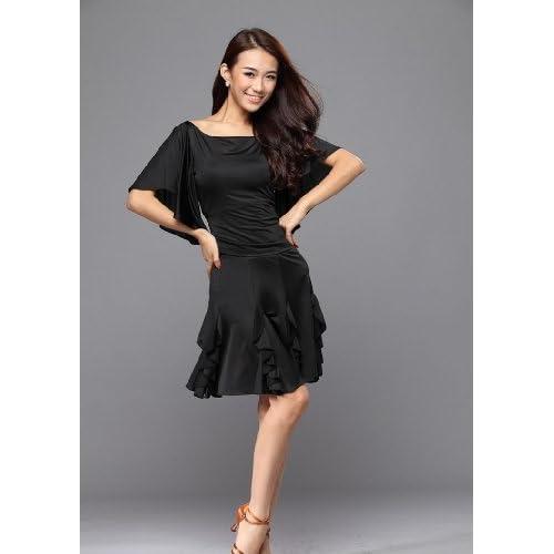 シンプルなデザインでカワイイ! ドレス 社交ダンス パーティー  ショー  モデルショー など (黒, M)