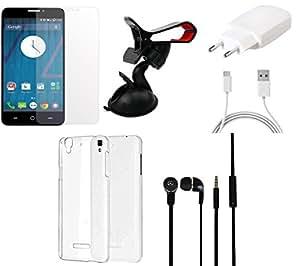 NIROSHA Tempered Glass Screen Guard Cover Case Charger Headphone Mobile Holder for YU Yureka - Combo
