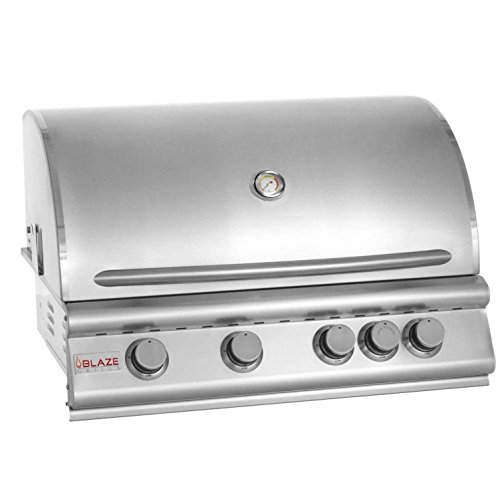 """Blaze BLZ-4-NG 32"""" Natural Gas Grill with 4 Commercial Quality 304 Cast Stainless Steel Burners 66 000 Total BTUs and Removable Warming Rack in Stainless"""