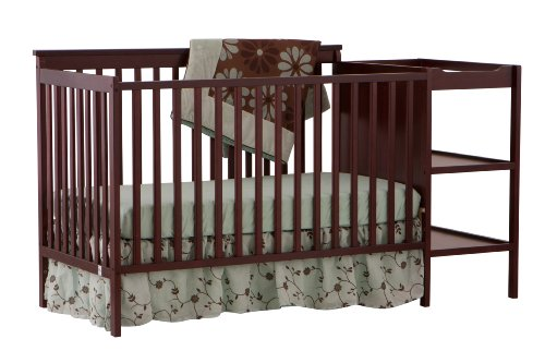 Stork Craft Milan 2-in-1 Fixed Side Convertible Crib and Changer, Cherry