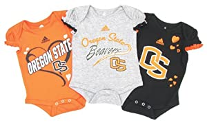 Buy adidas Oregon State Beavers Baby Girl's 3-Pack Creeper Set by adidas