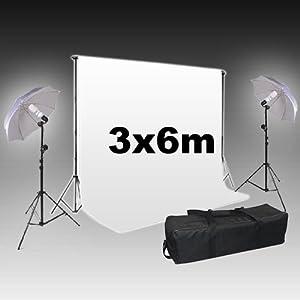 BPS Kit Eclairage Continu / Kit Studio 2x Daylight 125W + 2x TršŠpied + 2x Parapluie + Support de fond + 1x Fond en tissu 6.0*3.0m blanc pur Coton + 1x Sac de transport