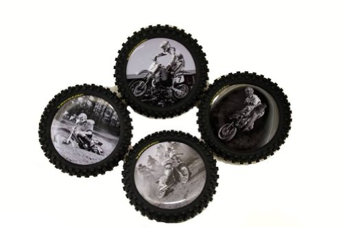 Smooth Industries Dunlop Legends of Motocross Knobby Tire Drink Coasters- 4 Pack