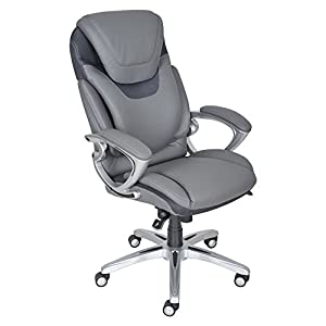 Serta AIR Health & Wellness Eco-friendly Bonded Leather Executive Office Chair - Light Grey