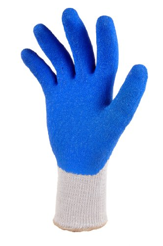 G & F 1630 Heavy Duty Rubber Coated Work Gloves, Blue, Large, 3 Pair Pack