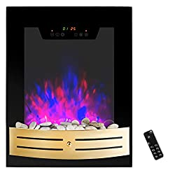 "AKDY® 19"" Tempered Glass 1500W Wall Mount Touch Screen Timer 2 Setting LED Stone Rock Bedroom Electric Fireplace Heater w/ Remote from AKDY"