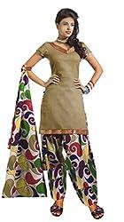 Kamal Women's Cotton Beige Printed Dress Material