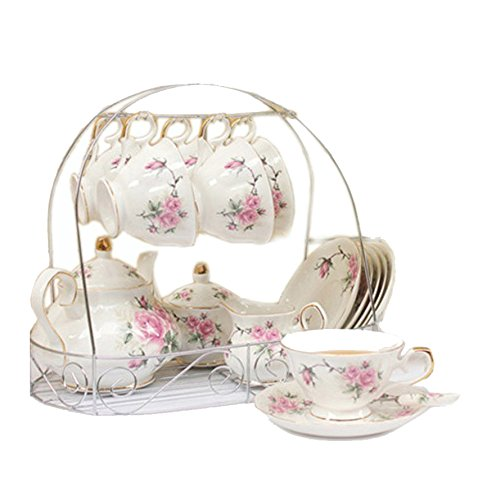 European Bone China,Golden camellia Printed Ceramic Porcelain Tea Cup Set With Lid And Saucer,metal holder in the picture is not included