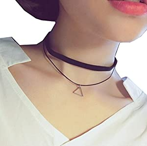 HONEYKISS Girls S925 Sterling Silver Black Necklace Single Layer Collar Chain