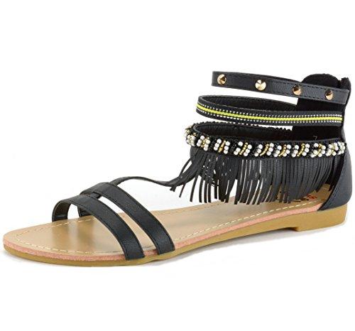 Alpine Swiss Womens Beaded & Studded Fringe Flat Gladiator Sandals Black 8 M US