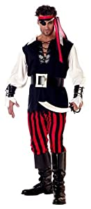 California Costumes Men's Adult-Cutthroat Pirate, Black/Red/White, M (40-42) Costume