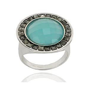 Sterling Silver Marcasite and Faceted Apatite Colored Glass Round Ring, Size 9