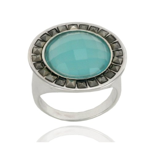 Sterling Silver Marcasite and Faceted Apatite Colored Glass Round Ring, Size 8