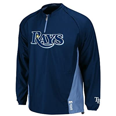 MLB Tampa Bay Rays Long Sleeve Lightweight 1/4 Zip Gamer Jacket, Navy Columbia Blue
