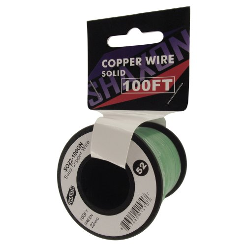 Shaxon So22-100Gn Solid Copper Wire On Spool, 100-Feet, Green