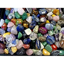 2 LB TUMBLED SEMI-PRECIOUS GEMSTONES - Brazilian Natural and Dyed Mix - MED SIZE 3/4\'\'-1\