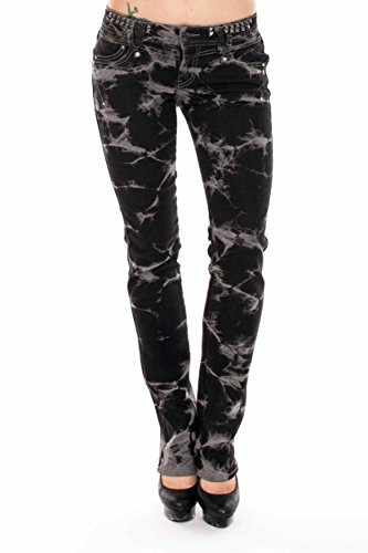VIRGIN ONLY Women's Slim Fit Straight Leg Washed Denim Jeans (Black Tie-dye , Size 9) (Tie Dye Jeans compare prices)