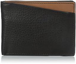Fossil Men\'s Slim Style Elliot Front Pocket Bifold, Black, One Size