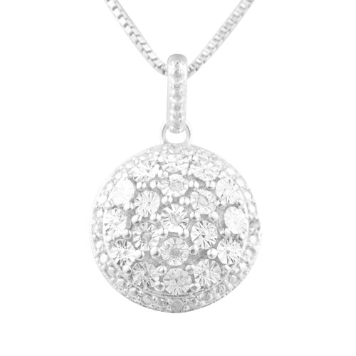 Sterling Silver Round Diamond-Accented Classic Pendant Necklace, 18
