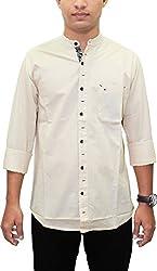 AA Southbay Mens Beige Georgian Mandarin Collar Linen Cotton Long Sleeve Solid Designer Ceremonial Shirt