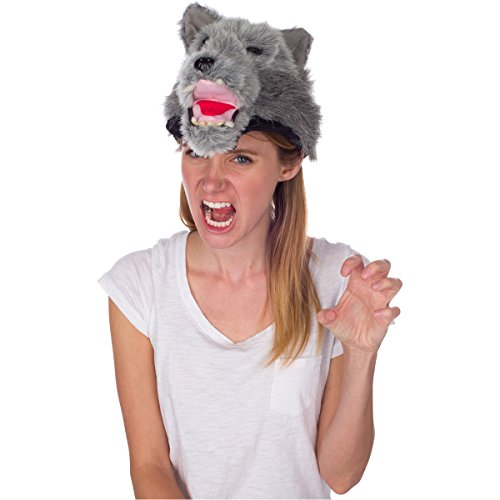 Rittle Furry Wolf Animal Hat, Realistic Plush Costume Headwear - One Size