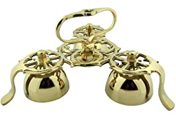 High Quality Church Goods Gold Brass 9 Inch L Three Bell Standing Chapel Sanctuary Bells with Handle