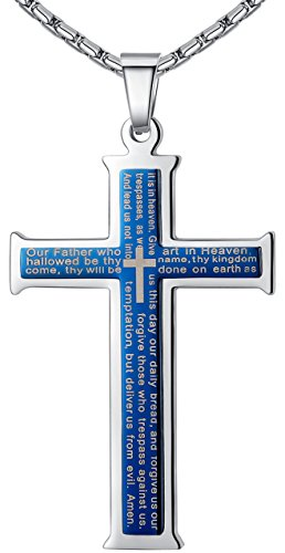 mens-stainless-steel-lords-prayer-cross-pendant-necklace-blue-color-23-chain-ddp022la