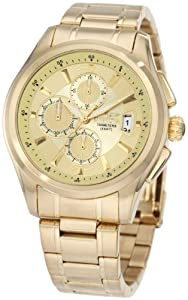 Invicta Men's 1484 Specialty Collection Chronograph Gold Dial 18k Gold Ion-Plated Stainless Steel Watch