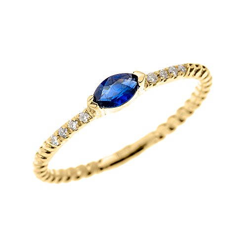 10k-Yellow-Gold-Dainty-Diamond-and-Marquise-Sapphire-Rope-Design-StackableProposal-RingSize-7