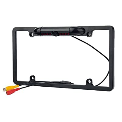Car Rear View Backup Camera 8 IR Night Vision US License Plate Frame CMOS Alloy Black