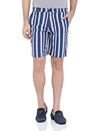 Blue Wave Blue And Grey Striped Casual Shorts For Men