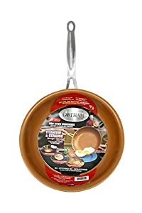 GOTHAM STEEL 9.5 inches Non-stick Titanium Frying Pan by Daniel Green (3-Pack, Gold)