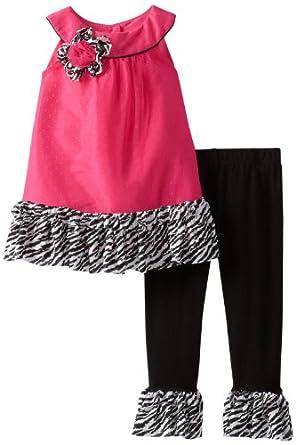 (3 折)Rare Editions Zebra Print Fuchsia/Black 女童连衣裙+长裤$16.4,